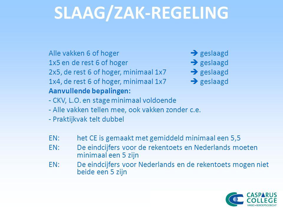 SLAAG/ZAK-REGELING Alle vakken 6 of hoger  geslaagd 1x5 en de rest 6 of hoger  geslaagd 2x5, de rest 6 of hoger, minimaal 1x7  geslaagd 1x4, de rest 6 of hoger, minimaal 1x7  geslaagd Aanvullende bepalingen: - CKV, L.O.