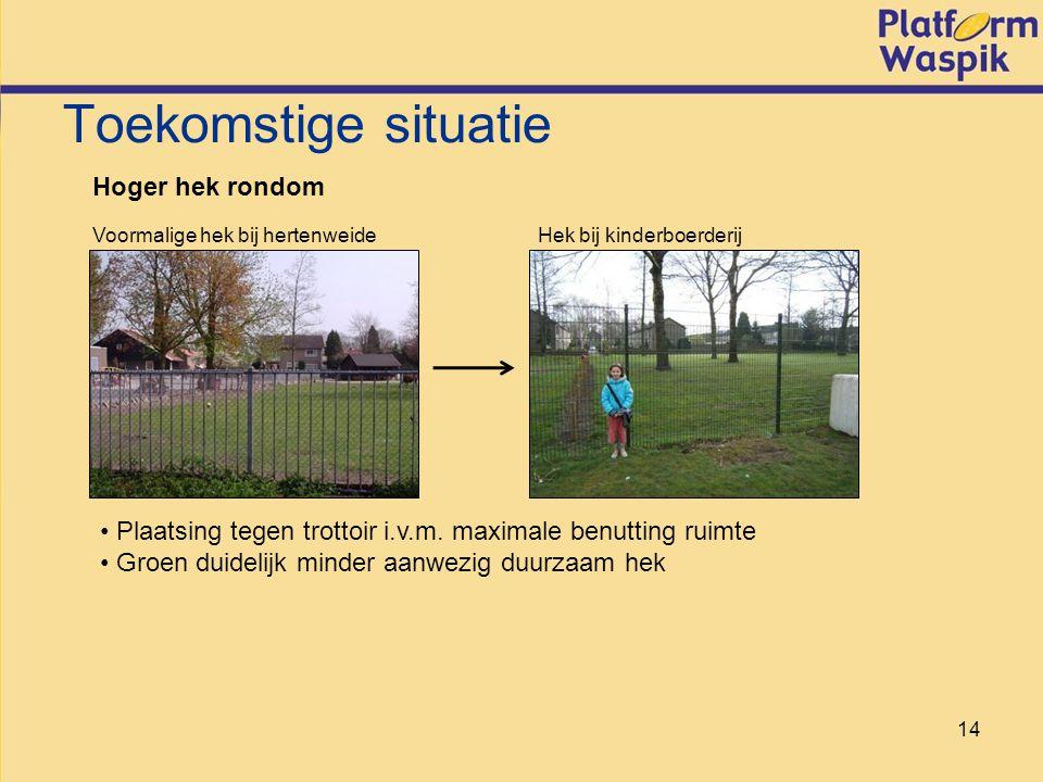 14 Toekomstige situatie Hoger hek rondom Voormalige hek bij hertenweide Hek bij kinderboerderij Plaatsing tegen trottoir i.v.m.