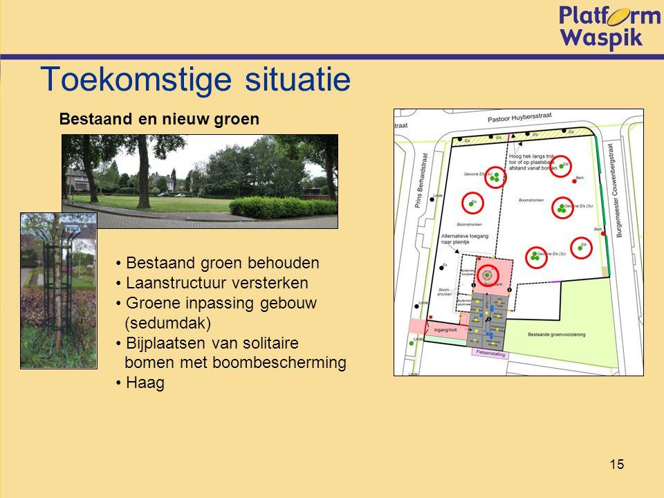 15 Toekomstige situatie Bestaand en nieuw groen Bestaand groen behouden Laanstructuur versterken Groene inpassing gebouw (sedumdak) Bijplaatsen van solitaire bomen met boombescherming Haag