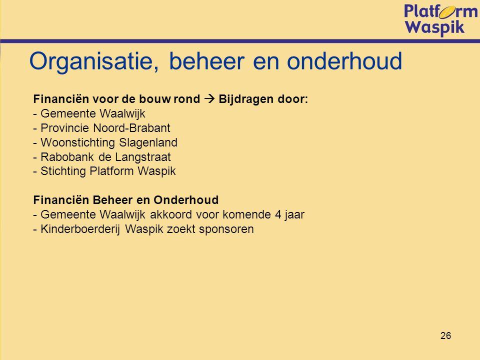 26 Organisatie, beheer en onderhoud Financiën voor de bouw rond  Bijdragen door: - Gemeente Waalwijk - Provincie Noord-Brabant - Woonstichting Slagenland - Rabobank de Langstraat - Stichting Platform Waspik Financiën Beheer en Onderhoud - Gemeente Waalwijk akkoord voor komende 4 jaar - Kinderboerderij Waspik zoekt sponsoren