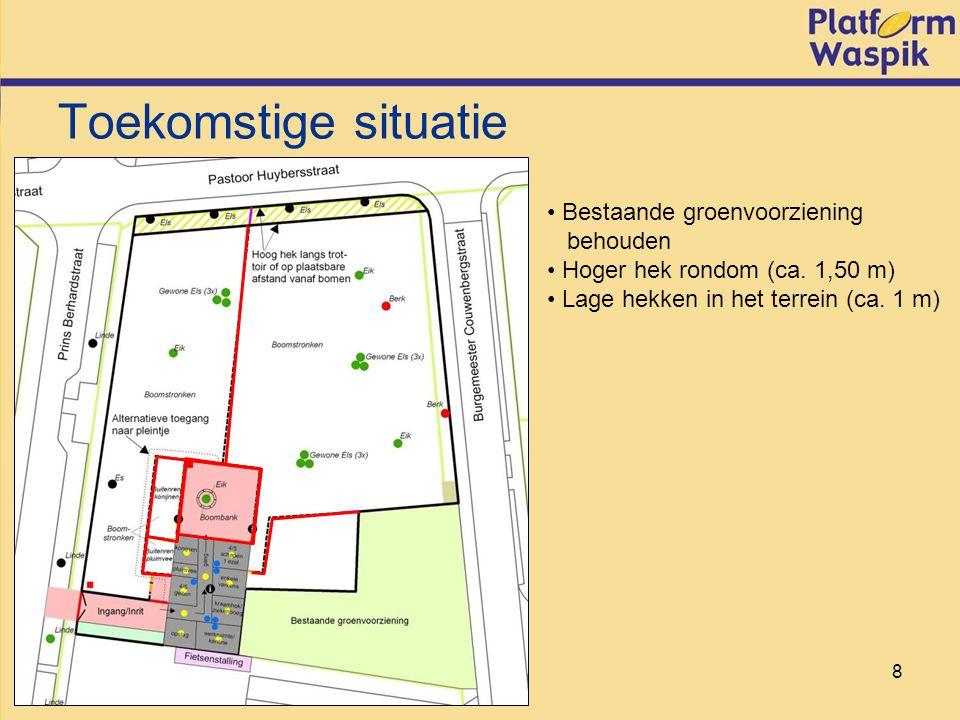 8 Toekomstige situatie Bestaande groenvoorziening behouden Hoger hek rondom (ca.