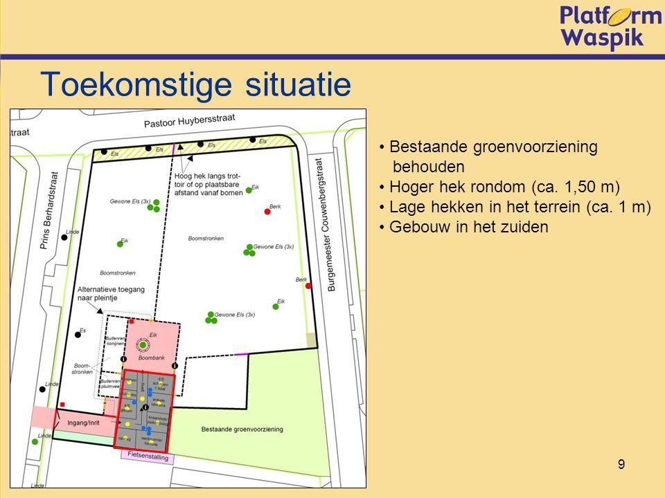 9 Toekomstige situatie Bestaande groenvoorziening behouden Hoger hek rondom (ca.