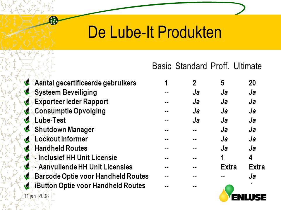 11 jan. 200810 De Lube-It Produkten Aantal gecertificeerde gebruikers1 2 5 20 Systeem Beveiliging-- Ja JaJa Exporteer Ieder Rapport-- Ja Ja Ja Consump