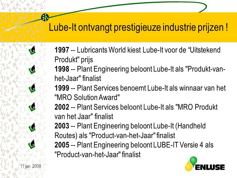"""11 jan. 200813 Lube-It ontvangt prestigieuze industrie prijzen ! 1997 -- Lubricants World kiest Lube-It voor de """"Uitstekend Produkt"""