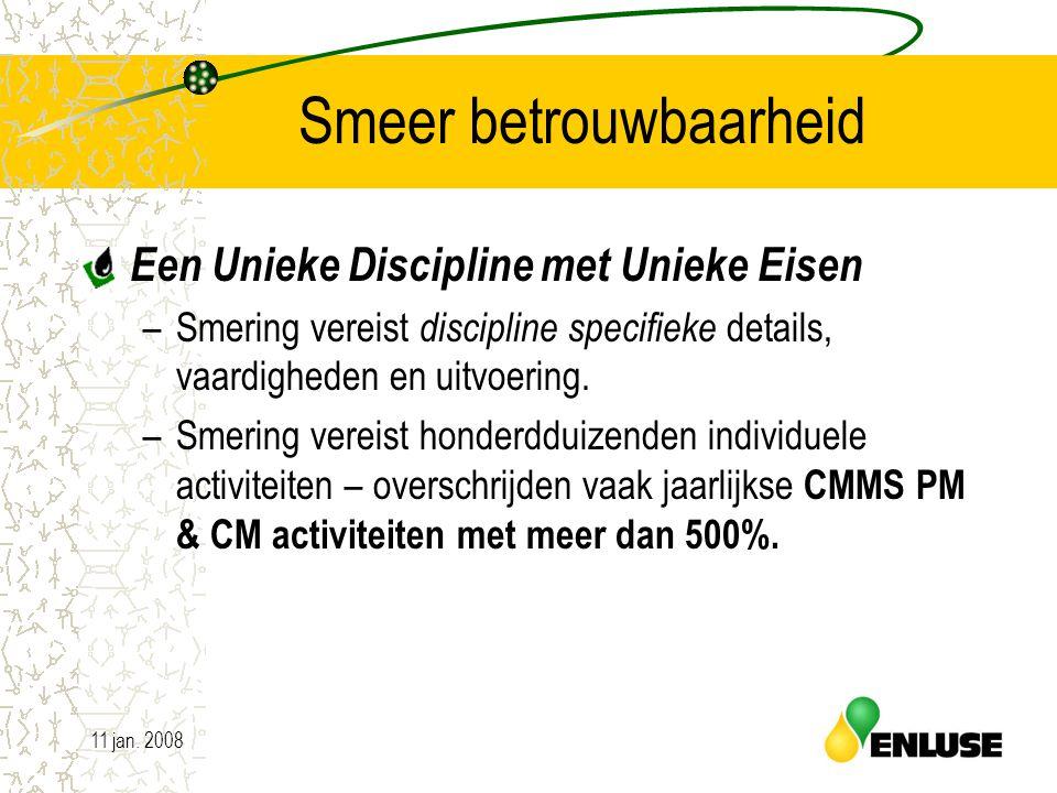 11 jan. 200819 Smeer betrouwbaarheid Een Unieke Discipline met Unieke Eisen –Smering vereist discipline specifieke details, vaardigheden en uitvoering