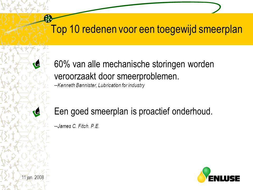 11 jan. 20082 Top 10 redenen voor een toegewijd smeerplan 60% van alle mechanische storingen worden veroorzaakt door smeerproblemen. --Kenneth Bannist