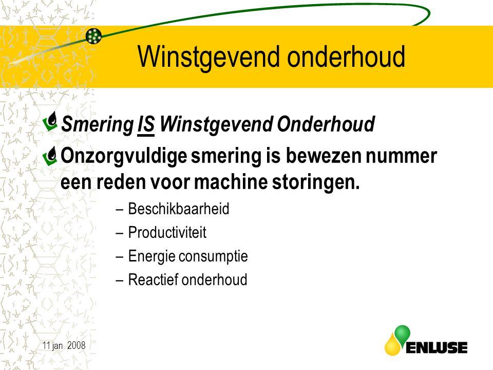 11 jan. 200820 Winstgevend onderhoud Smering IS Winstgevend Onderhoud Onzorgvuldige smering is bewezen nummer een reden voor machine storingen. –Besch