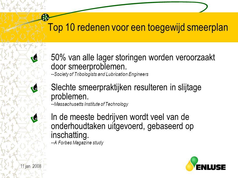 11 jan. 20083 Top 10 redenen voor een toegewijd smeerplan 50% van alle lager storingen worden veroorzaakt door smeerproblemen. --Society of Tribologis