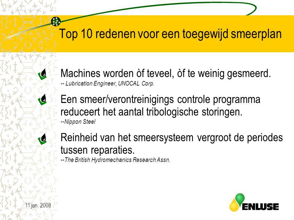 11 jan. 20084 Top 10 redenen voor een toegewijd smeerplan Machines worden òf teveel, òf te weinig gesmeerd. -- Lubrication Engineer, UNOCAL Corp. Een