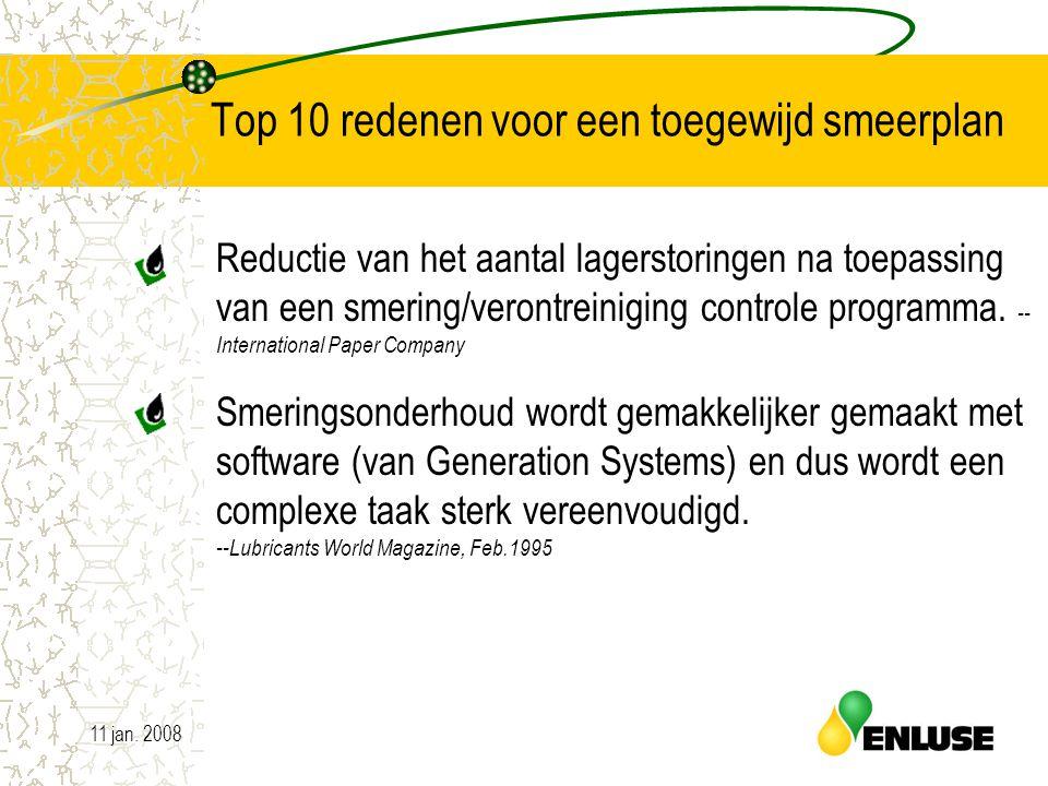 11 jan. 20085 Top 10 redenen voor een toegewijd smeerplan Reductie van het aantal lagerstoringen na toepassing van een smering/verontreiniging control