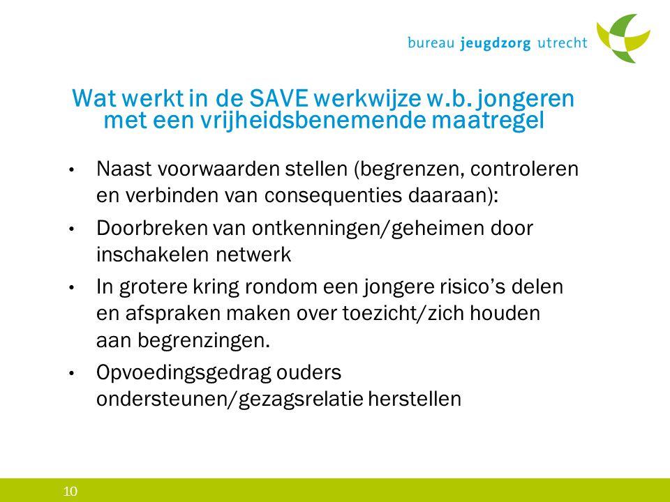 10 Wat werkt in de SAVE werkwijze w.b. jongeren met een vrijheidsbenemende maatregel Naast voorwaarden stellen (begrenzen, controleren en verbinden va