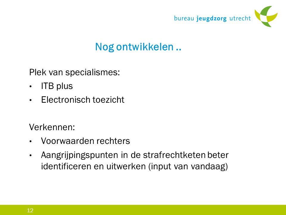 12 Nog ontwikkelen.. Plek van specialismes: ITB plus Electronisch toezicht Verkennen: Voorwaarden rechters Aangrijpingspunten in de strafrechtketen be