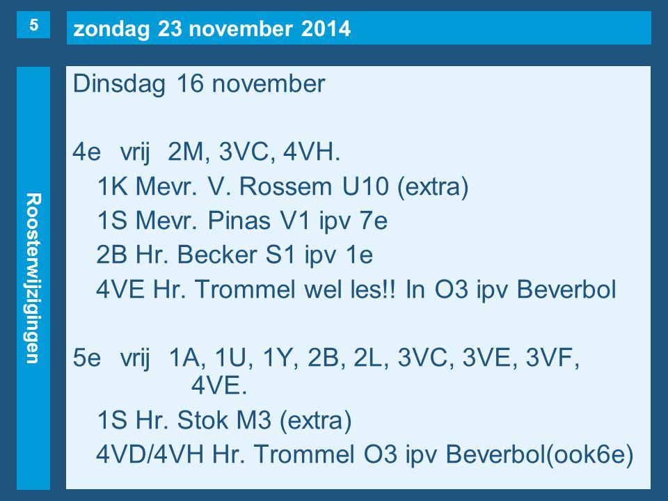 zondag 23 november 2014 Roosterwijzigingen Dinsdag 16 november 6evrij1B, 1S, 1U(naar 1e), 2C, 3VC, 3VE, 3VF, 4VE(naar 18/11, 7e uur).