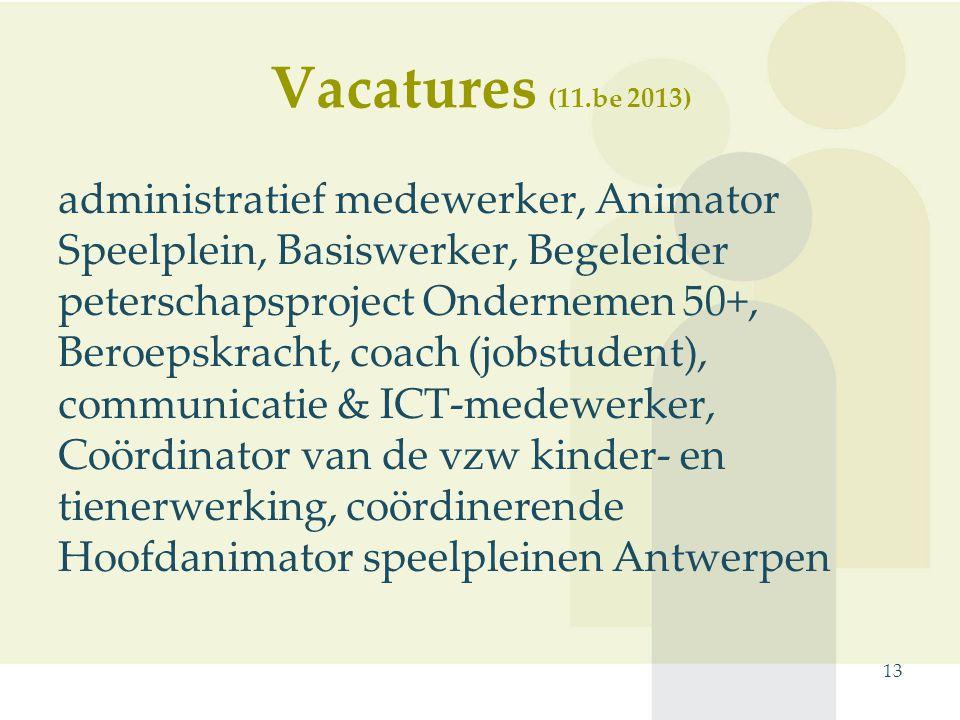 Vacatures (11.be 2013) administratief medewerker, Animator Speelplein, Basiswerker, Begeleider peterschapsproject Ondernemen 50+, Beroepskracht, coach (jobstudent), communicatie & ICT-medewerker, Coördinator van de vzw kinder- en tienerwerking, coördinerende Hoofdanimator speelpleinen Antwerpen 13