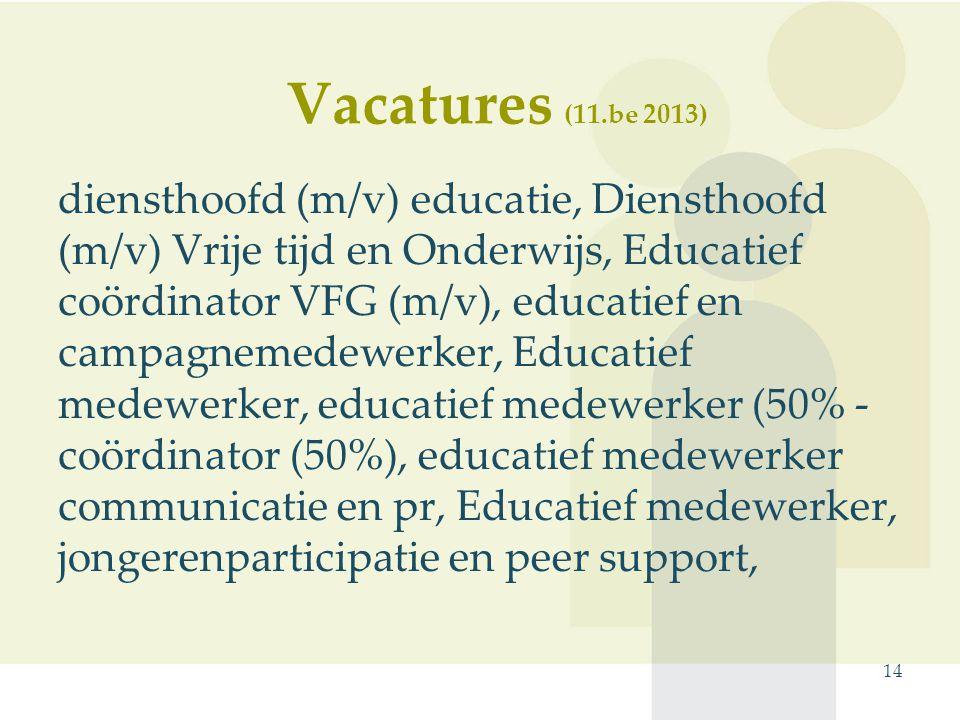 diensthoofd (m/v) educatie, Diensthoofd (m/v) Vrije tijd en Onderwijs, Educatief coördinator VFG (m/v), educatief en campagnemedewerker, Educatief medewerker, educatief medewerker (50% - coördinator (50%), educatief medewerker communicatie en pr, Educatief medewerker, jongerenparticipatie en peer support, 14 Vacatures (11.be 2013)