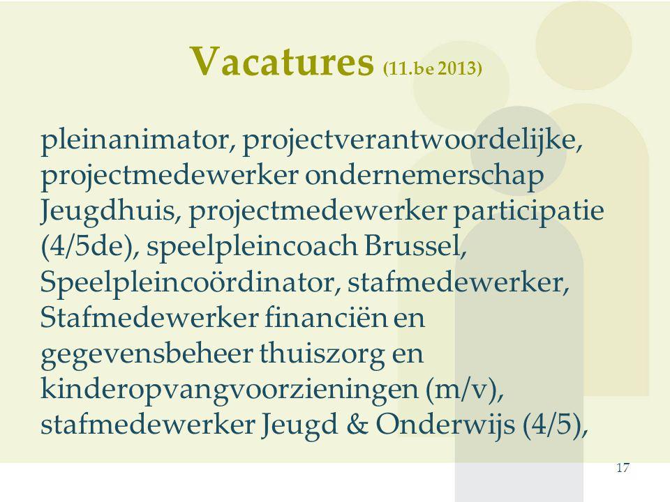 pleinanimator, projectverantwoordelijke, projectmedewerker ondernemerschap Jeugdhuis, projectmedewerker participatie (4/5de), speelpleincoach Brussel, Speelpleincoördinator, stafmedewerker, Stafmedewerker financiën en gegevensbeheer thuiszorg en kinderopvangvoorzieningen (m/v), stafmedewerker Jeugd & Onderwijs (4/5), 17 Vacatures (11.be 2013)