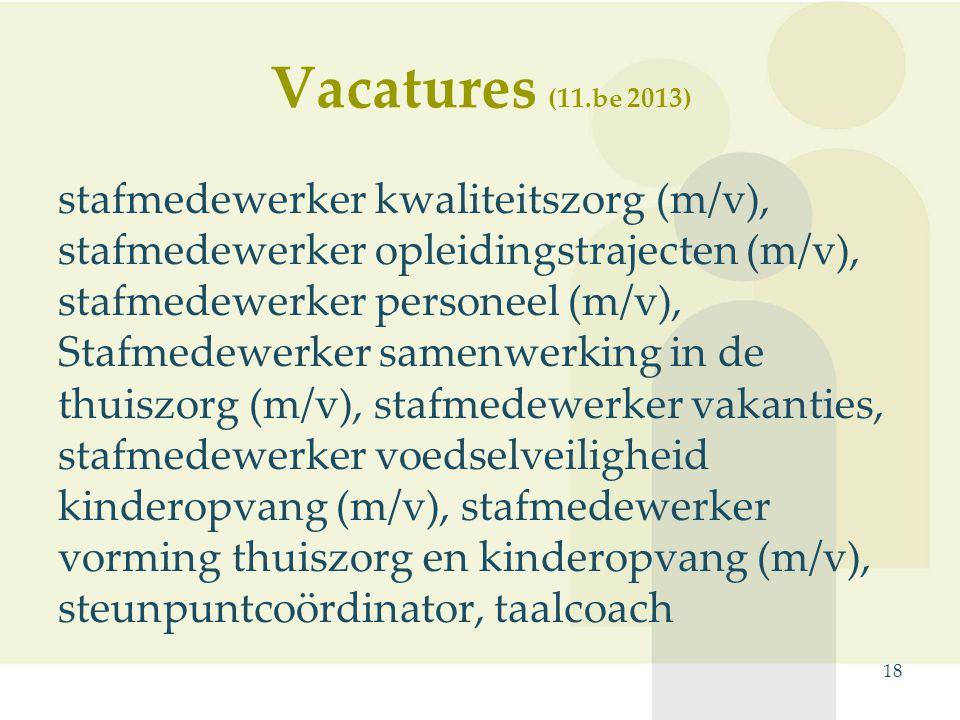 stafmedewerker kwaliteitszorg (m/v), stafmedewerker opleidingstrajecten (m/v), stafmedewerker personeel (m/v), Stafmedewerker samenwerking in de thuiszorg (m/v), stafmedewerker vakanties, stafmedewerker voedselveiligheid kinderopvang (m/v), stafmedewerker vorming thuiszorg en kinderopvang (m/v), steunpuntcoördinator, taalcoach 18 Vacatures (11.be 2013)