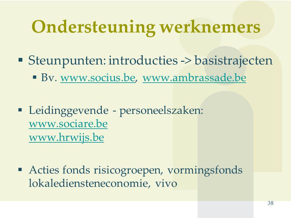 Ondersteuning werknemers  Steunpunten: introducties -> basistrajecten  Bv. www.socius.be, www.ambrassade.bewww.socius.bewww.ambrassade.be  Leidingg