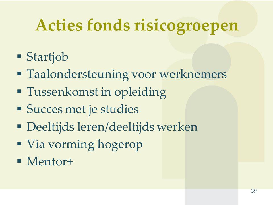 Acties fonds risicogroepen  Startjob  Taalondersteuning voor werknemers  Tussenkomst in opleiding  Succes met je studies  Deeltijds leren/deeltijds werken  Via vorming hogerop  Mentor+ 39