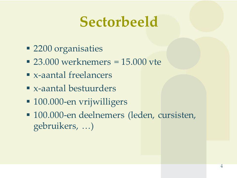 Sectorbeeld 4  2200 organisaties  23.000 werknemers = 15.000 vte  x-aantal freelancers  x-aantal bestuurders  100.000-en vrijwilligers  100.000-en deelnemers (leden, cursisten, gebruikers, …)