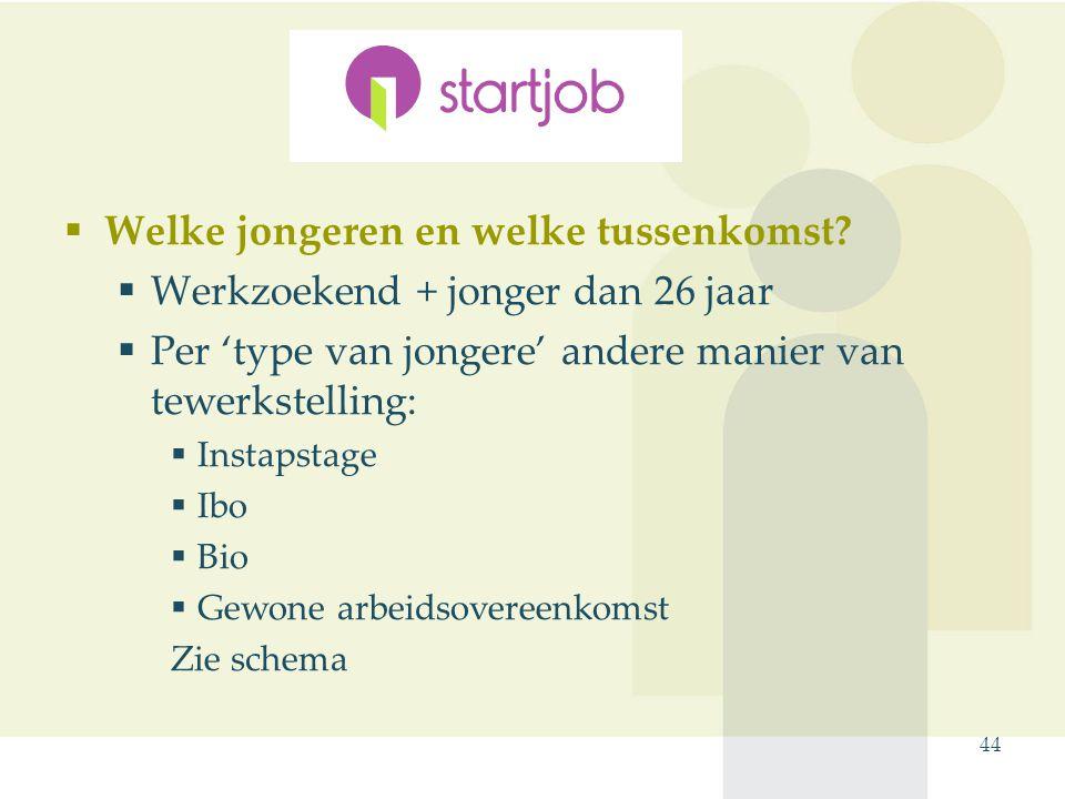 44 Startjob  Welke jongeren en welke tussenkomst?  Werkzoekend + jonger dan 26 jaar  Per 'type van jongere' andere manier van tewerkstelling:  Ins