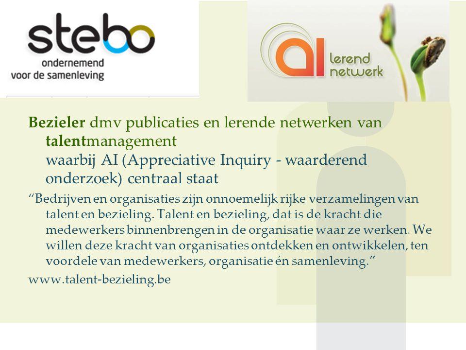 Bezieler dmv publicaties en lerende netwerken van talentmanagement waarbij AI (Appreciative Inquiry - waarderend onderzoek) centraal staat Bedrijven en organisaties zijn onnoemelijk rijke verzamelingen van talent en bezieling.
