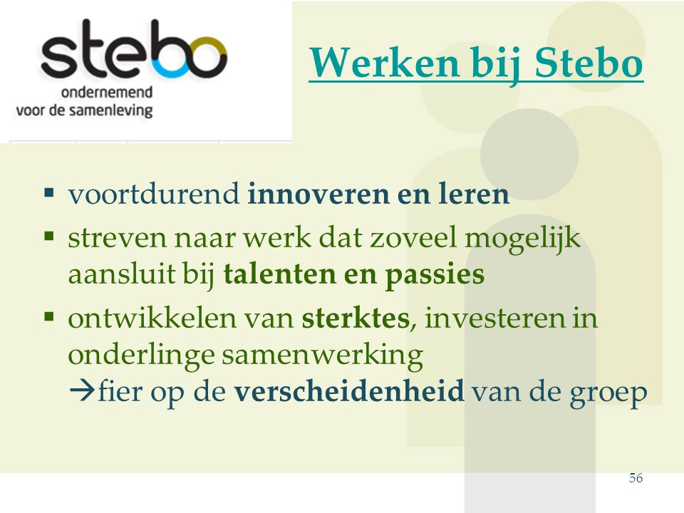 Werken bij Stebo  voortdurend innoveren en leren  streven naar werk dat zoveel mogelijk aansluit bij talenten en passies  ontwikkelen van sterktes, investeren in onderlinge samenwerking  fier op de verscheidenheid van de groep 56