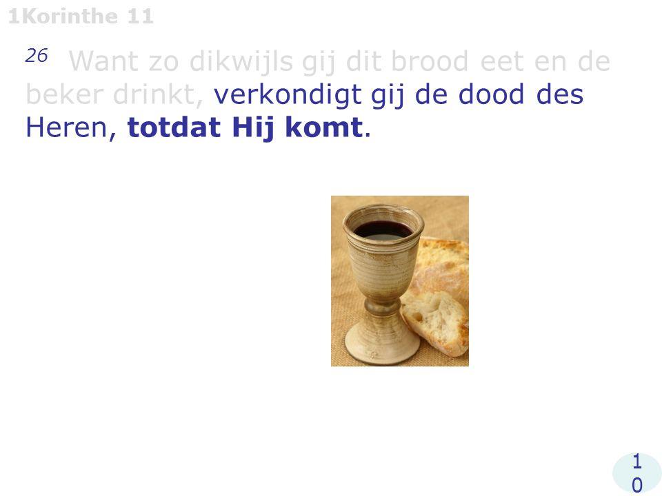 1Korinthe 11 26 Want zo dikwijls gij dit brood eet en de beker drinkt, verkondigt gij de dood des Heren, totdat Hij komt.