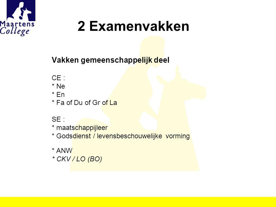 2 Examenvakken Vakken gemeenschappelijk deel CE : * Ne * En * Fa of Du of Gr of La SE : * maatschappijleer * Godsdienst / levensbeschouwelijke vorming