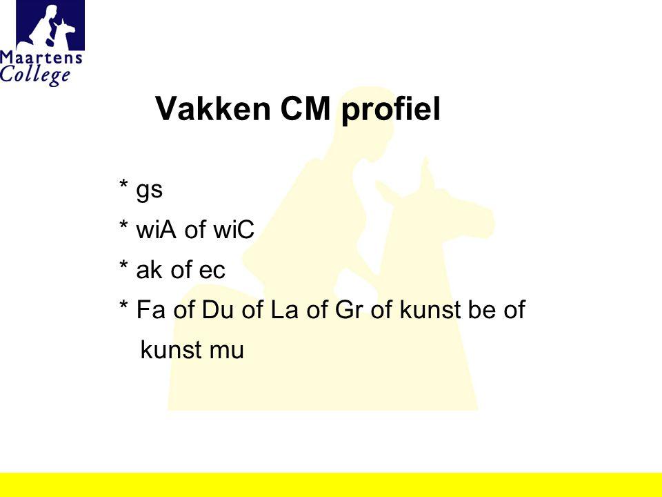Vakken CM profiel * gs * wiA of wiC * ak of ec * Fa of Du of La of Gr of kunst be of kunst mu