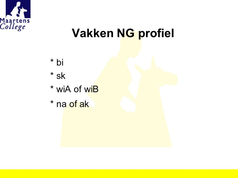 Vakken NG profiel * bi * sk * wiA of wiB * na of ak