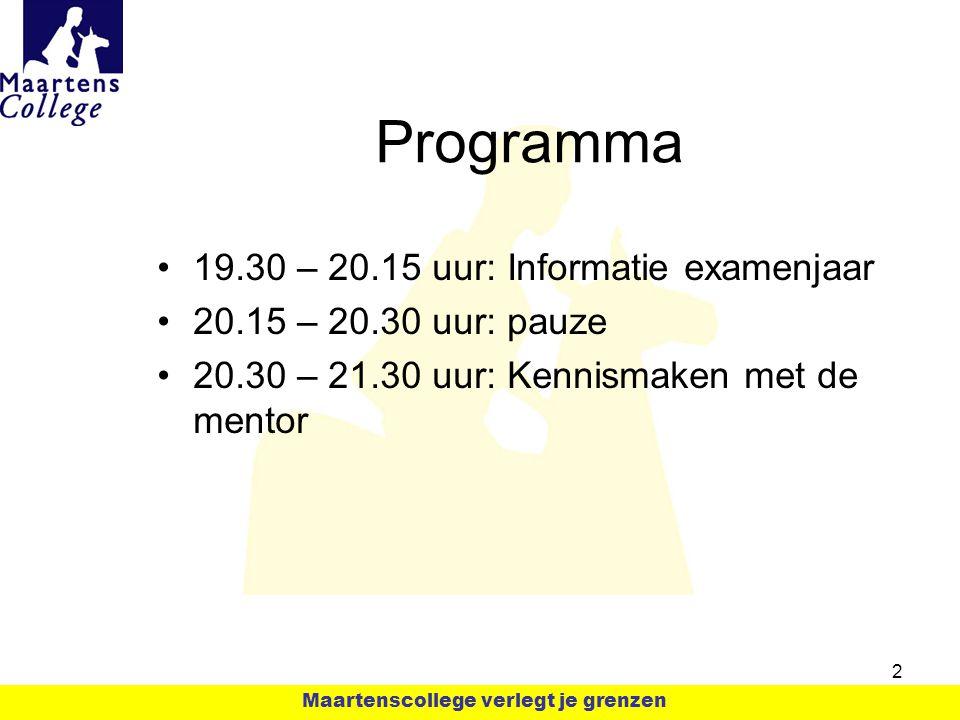 Programma 19.30 – 20.15 uur: Informatie examenjaar 20.15 – 20.30 uur: pauze 20.30 – 21.30 uur: Kennismaken met de mentor 2 Maartenscollege verlegt je