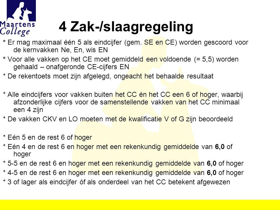 4 Zak-/slaagregeling * Er mag maximaal één 5 als eindcijfer (gem. SE en CE) worden gescoord voor de kernvakken Ne, En, wis EN * Voor alle vakken op he
