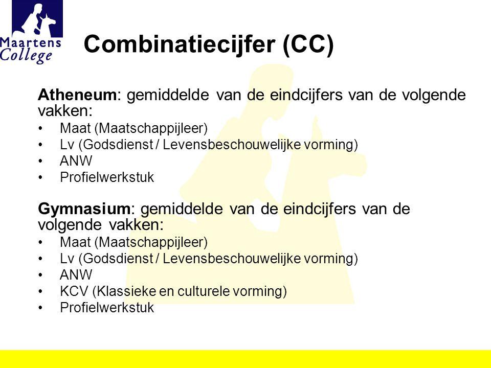 Combinatiecijfer (CC) Atheneum: gemiddelde van de eindcijfers van de volgende vakken: Maat (Maatschappijleer) Lv (Godsdienst / Levensbeschouwelijke vo