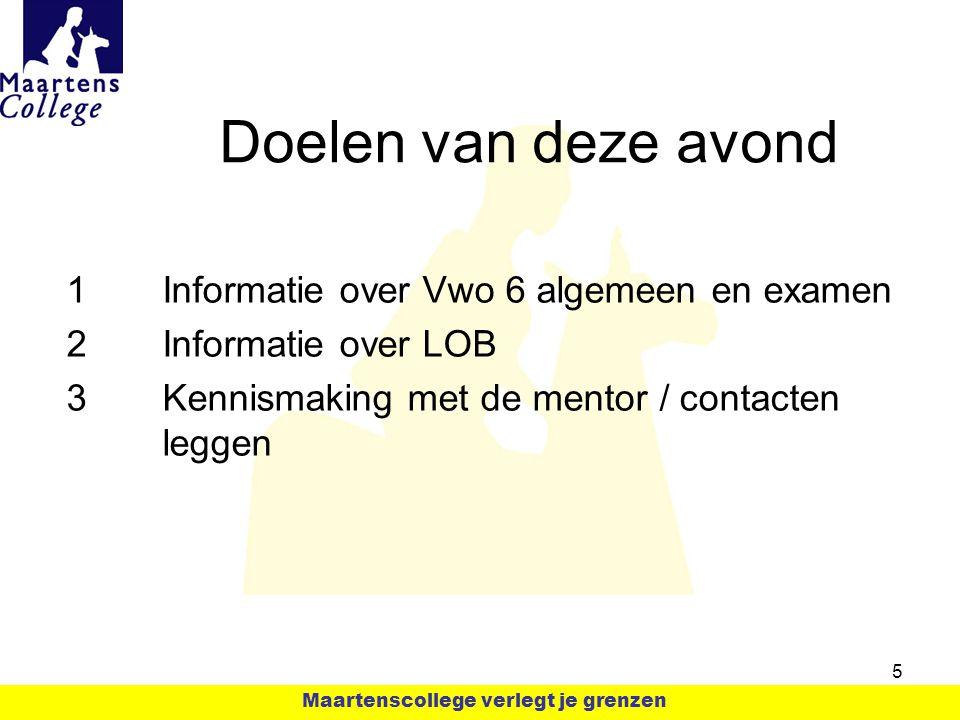 Doelen van deze avond 1Informatie over Vwo 6 algemeen en examen 2Informatie over LOB 3Kennismaking met de mentor / contacten leggen 5 Maartenscollege