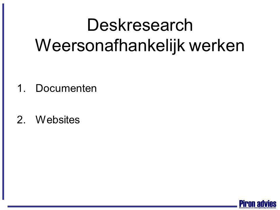 Deskresearch Weersonafhankelijk werken 1.Documenten 2.Websites