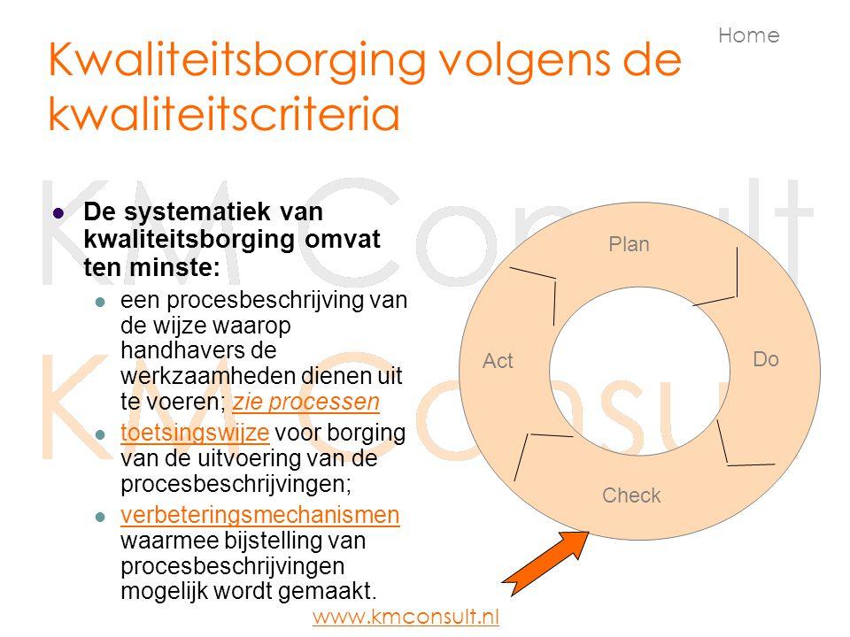 Kwaliteitsborging volgens de kwaliteitscriteria De systematiek van kwaliteitsborging omvat ten minste: een procesbeschrijving van de wijze waarop hand