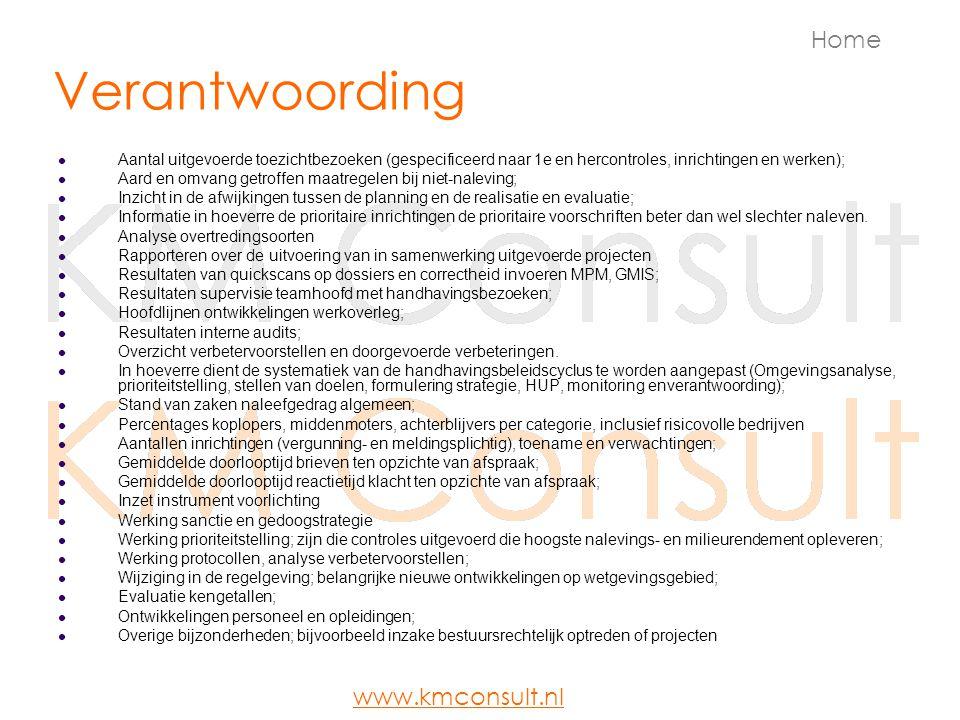 Verantwoording Aantal uitgevoerde toezichtbezoeken (gespecificeerd naar 1e en hercontroles, inrichtingen en werken); Aard en omvang getroffen maatrege