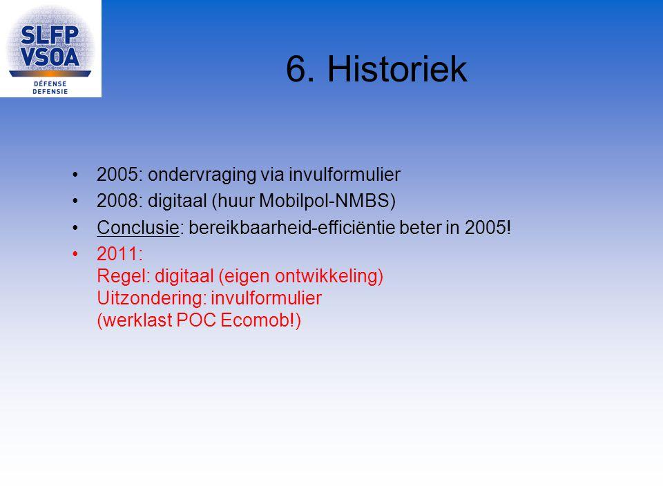 6. Historiek 2005: ondervraging via invulformulier 2008: digitaal (huur Mobilpol-NMBS) Conclusie: bereikbaarheid-efficiëntie beter in 2005! 2011: Rege