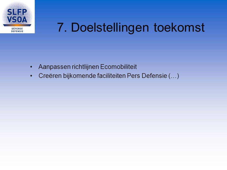 7. Doelstellingen toekomst Aanpassen richtlijnen Ecomobiliteit Creëren bijkomende faciliteiten Pers Defensie (…)