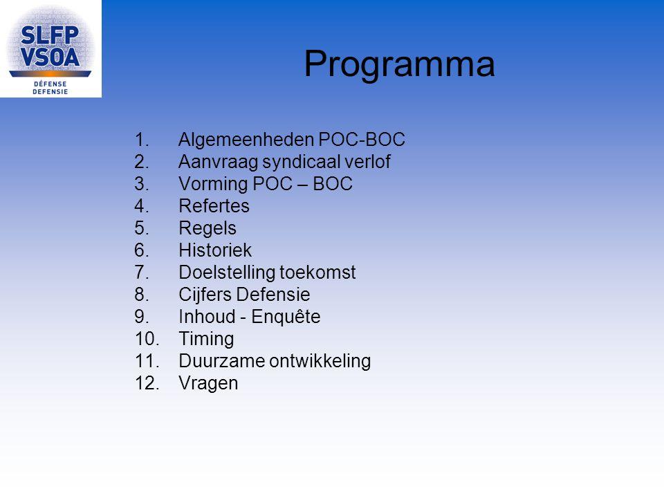 Programma 1.Algemeenheden POC-BOC 2.Aanvraag syndicaal verlof 3.Vorming POC – BOC 4.Refertes 5.Regels 6.Historiek 7.Doelstelling toekomst 8.Cijfers De
