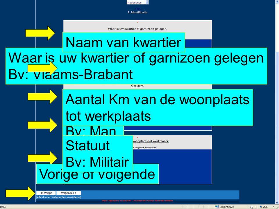 Waar is uw kwartier of garnizoen gelegen Bv: Vlaams-Brabant Geslacht Bv: Man Statuut Bv: Militair Aantal Km van de woonplaats tot werkplaats Naam van