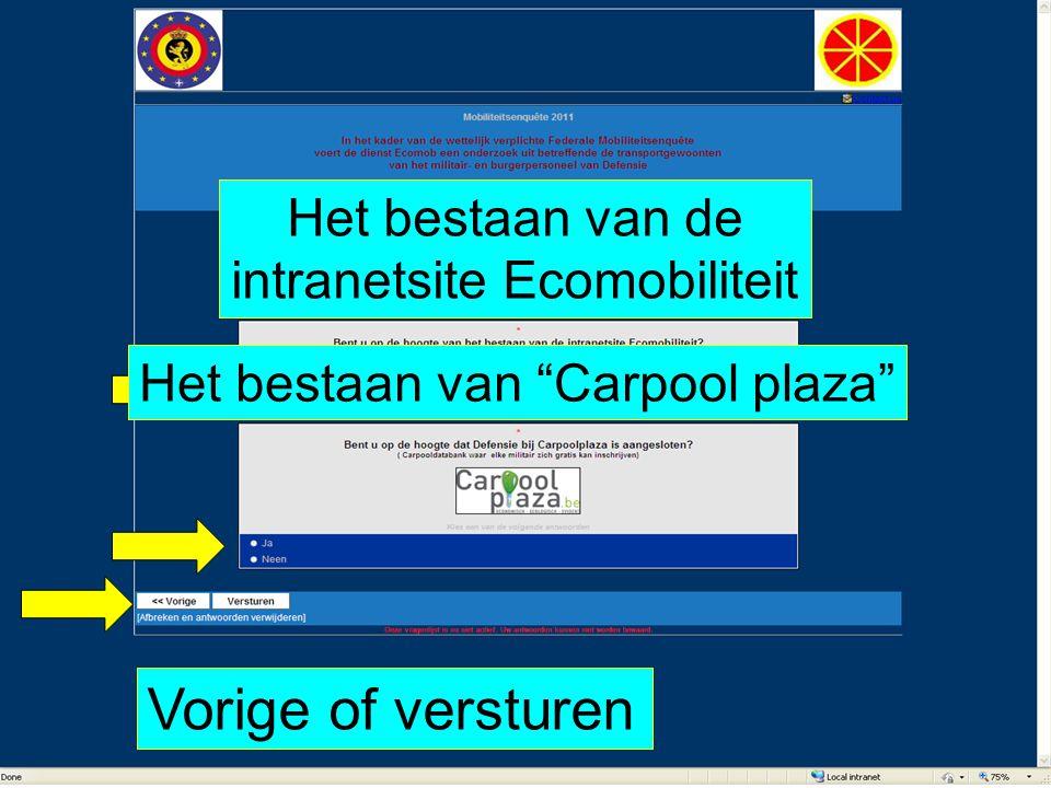 """Vorige of versturen Het bestaan van de intranetsite Ecomobiliteit Het bestaan van """"Carpool plaza"""""""