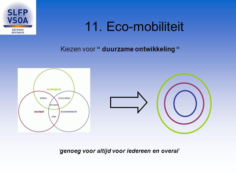 """11. Eco-mobiliteit Kiezen voor """" duurzame ontwikkeling """" 'genoeg voor altijd voor iedereen en overal'"""