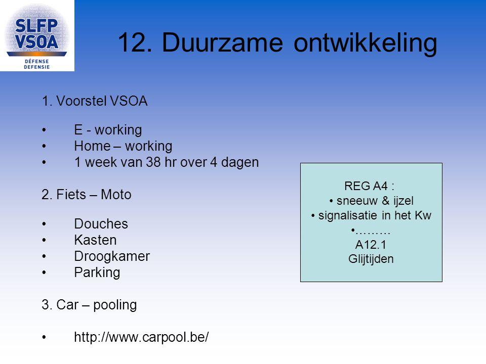 12. Duurzame ontwikkeling 1. Voorstel VSOA E - working Home – working 1 week van 38 hr over 4 dagen 2. Fiets – Moto Douches Kasten Droogkamer Parking