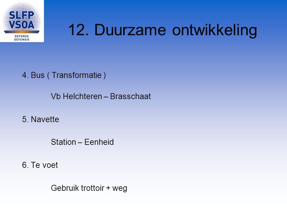 12. Duurzame ontwikkeling 4. Bus ( Transformatie ) Vb Helchteren – Brasschaat 5. Navette Station – Eenheid 6. Te voet Gebruik trottoir + weg