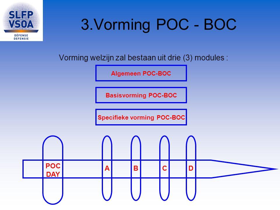 3.Vorming POC - BOC Vorming welzijn zal bestaan uit drie (3) modules : Specifieke vorming POC-BOC Algemeen POC-BOC Basisvorming POC-BOC A POC DAY BCD
