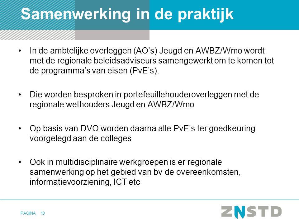 PAGINA Samenwerking in de praktijk In de ambtelijke overleggen (AO's) Jeugd en AWBZ/Wmo wordt met de regionale beleidsadviseurs samengewerkt om te komen tot de programma's van eisen (PvE's).