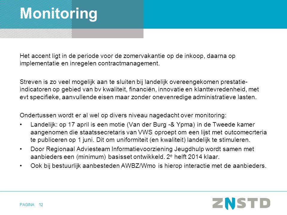 PAGINA Monitoring Het accent ligt in de periode voor de zomervakantie op de inkoop, daarna op implementatie en inregelen contractmanagement. Streven i