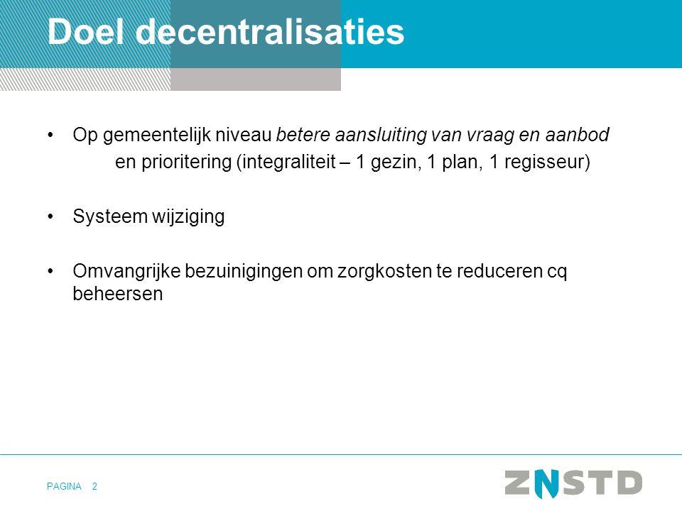 PAGINA Doel decentralisaties Op gemeentelijk niveau betere aansluiting van vraag en aanbod en prioritering (integraliteit – 1 gezin, 1 plan, 1 regisse